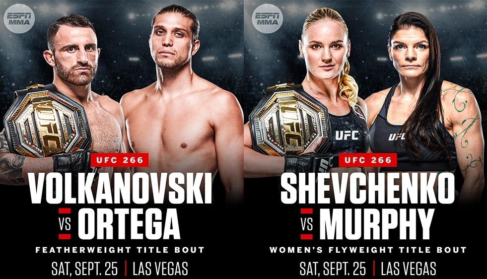 Объявлены поединки UFC 266: Волкановски vs Ортега, Шевченко vs Мерфи